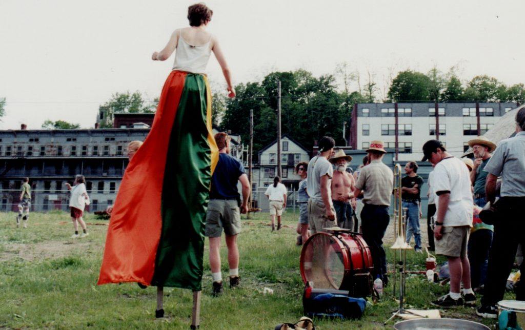 Bread and Puppet theater, future Waypoint Center lot, Bellows Falls, VT 1999