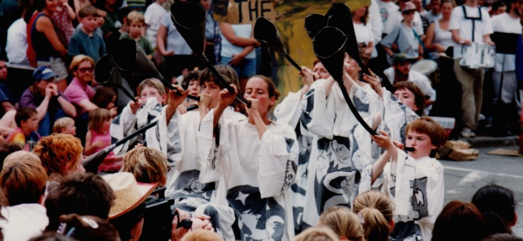 Trumpeters; Bread and Puppet theater in Bellows Falls, VT, 1999
