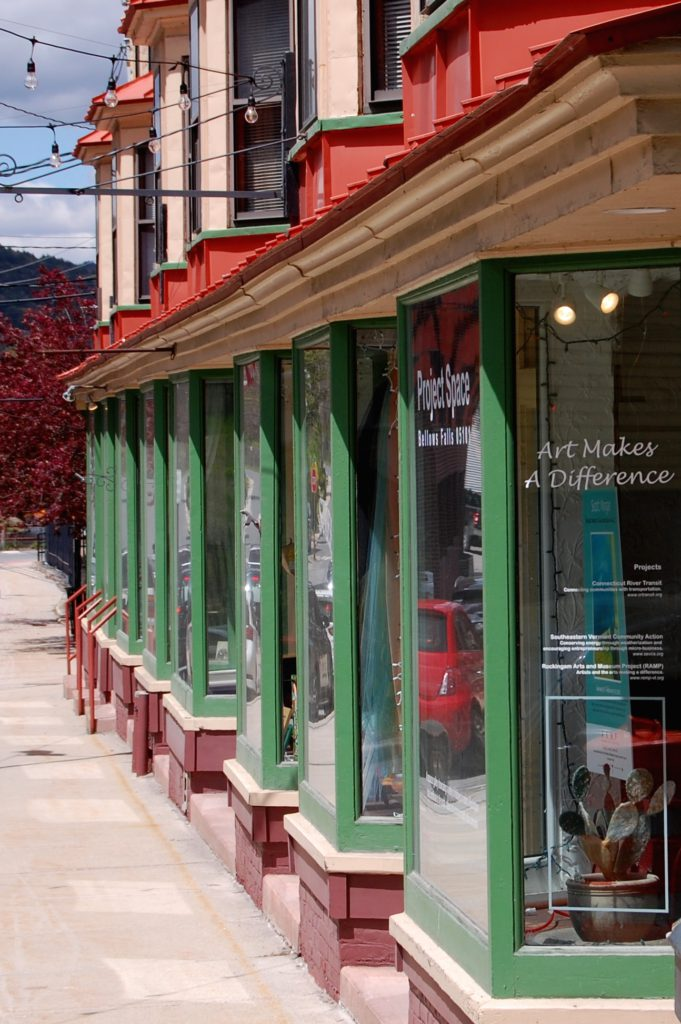 Sidewalk view, Exner Block with Project Space 9 gallery, Canal St., Bellows Falls, VT, 2019