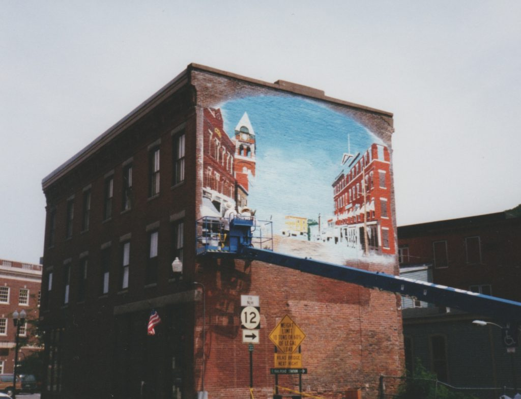 Mural, Flat Iron building, Bellows Falls, VT, almost finished 2000